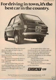 Rear engine as in previous Fiat 500 1976 Advertising History, Old Advertisements, Car Advertising, Fiat 500, Vintage India, Vintage Ads, Driving Signs, Car Brochure, Fiat Abarth