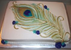 peacock feather baby shower cake idea or wedding sheet cake..I just like feather part not the  blue little buds or whatever