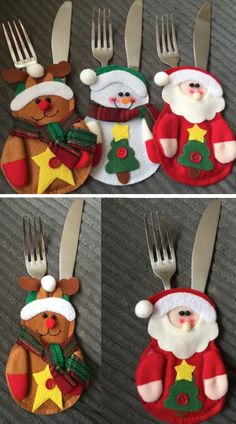 These Christmas Stocking Silverware Holders Are Adorable Christmas Sewing, Christmas Eve, Christmas Stockings, Christmas Crafts, Xmas, Christmas Ornaments, Felt Christmas Decorations, Table Decorations, Sewing Crafts