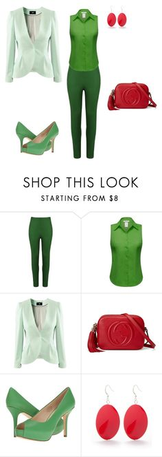 """аналогия+акцент"" by meaygul on Polyvore featuring мода, Andrea Marques, H&M, Gucci, Nine West и Kim Rogers"