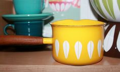 Vintage Cathrineholm Yellow Saucepan Wood by AstridsPastTimes