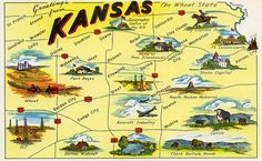 """Vintage state map postcard of Kansas, """"The Wheat State. Kansas Map, State Of Kansas, Kansas City, Route 66, Wisconsin, Michigan, Map Globe, Sea To Shining Sea, Graphic Design Posters"""