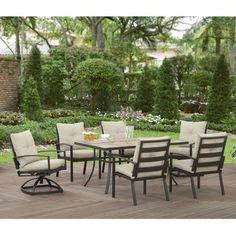 Better Homes and Gardens Deerhurst Slat Tile 7pc Dining Set - Walmart.com