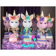 31 ideas for unicorn birthday party centerpieces Party Unicorn, Unicorn Baby Shower, Unicorn Birthday Parties, Girl Birthday, Happy Birthday, Birthday Ideas, Unicorn Birthday Decorations, Birthday Table, Princess Birthday