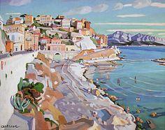 """Edmond ASTRUC (1878 - 1977)  Né à Marseille   """" La Corniche"""" Huile sur toile 82 x 100 cm"""