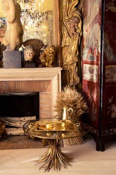 Coco Chanel's apartment in Paris with her gold wheat table. #paris #cocochanel