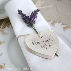 Lavender used in place setting (1 x sprig in each napkin tied with twine and name tag hanging)