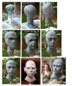 Old Soul ©Lori Kiplinger Pandy. Life sized portrait bust progression from armature to features in water based clay.
