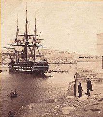 HMS Neptune at Grand Harbour Malta 1862 (Lea Francis Ellis) Tags: