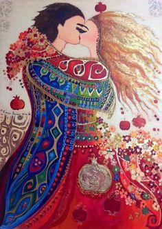 "Canan Berber ""des fleurs et des baisers""  80*110 Mixed Media on Canvas  By Canan Berber  https://www.facebook.com/cb.cananberber/photos/a.707672709262174.1073741831.703650342997744/926869680675808/?type=1"