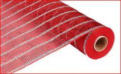 Red Thin Silver Stripe Poly Mesh Poly Mesh by wreathsbyrobin See more at: https://www.etsy.com/shop/wreathsbyrobin