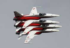 Swiss Aerobatic Team Patrouille Suisse. Stacking up formation