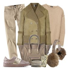 """""""Shearling Babe"""" by tdwsammy ❤ liked on Polyvore featuring H&M, Zara, Topshop, CÉLINE, Overland Sheepskin Co., Valentino, Rebecca Minkoff, men's fashion and menswear"""