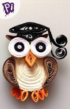 Pintaideas Mini búho de Filigrana ( Recuerdo para Graduación ), Quilling Owl Mini , manualidades, bricolaje, handmade, crafts, DIY, figuras, graduacion, etc.