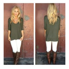 white jeans, brown boots, olive green top