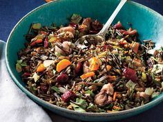 The nutty, almost smoky flavor of wild rice pairs beautifully with game birds and other poultry. Bright bits of dried cranberries, fresh herbs, and sliced carrot give this side dish definite curb appeal. View Recipe: Wild Rice Dressing with Roasted Chestnuts and Cranberries