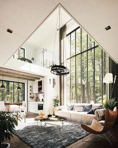 great room with floor to ceiling windows, modern rustic house in the forest, mod… Tolles Zimmer mit raumhohen Fenstern, modernes rustikales Haus im Wald, modernes Wohnzimmer House Rooms, Minimalism Interior, House Inspiration, Home Interior Design, House Styles, Floor To Ceiling Windows, House, House Interior, Interior Architecture