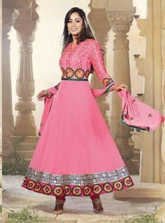 Pink Designer Georgette Anarkali with heavy work of Embroidery en-crafted on the top and the Bottom. Along with Matching Shantoon Bottom and Chiffon Duppatta.