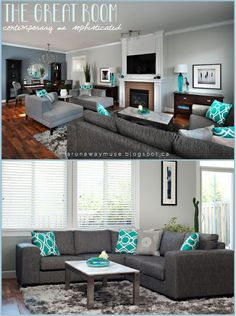 A Runaway Muse: Project Spotlight: Character Home Up Do #grey #turquoise.  Character HomeLight Gray WallsGray SectionalBright PillowsTeal ...