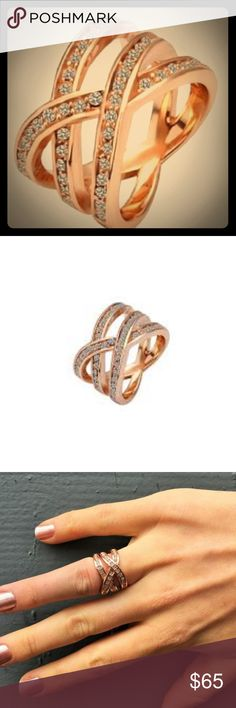 """Nicole """"Victorious"""" Ring By Cate & Chole Size 6 Uniquely designed with 3 criss-crossed Rose Gold bands magnificently lined with CZ stones.  Product Specifications: Retail $ 99 Size 6 Rose Gold Plated with CZ Stone embellishment Jewelry Rings"""