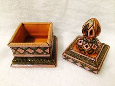 "Ceramic Box (Square) - Fair Trade Handcrafted by Tajik Master Ceramics Artist Saidov Sukhrob Approx. 7"" high, base 3 1/2"" on each side Inside is unglazed Perfect for storing small items like paper cli"