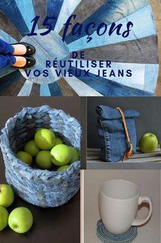 Réutilisez vos vieux jeans! Voici 15 projets qui vous inspireront. Large Storage Baskets, Toy Storage, Jeans Recycling, Altering Jeans, Rose Jeans, Work Aprons, Red Bandana, Jeans Denim