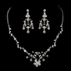 Rhinestone Floral Vine Necklace & Chandelier Earrings Bridal Jewelry Set 8215