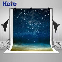 Night Sky Sparkling Stars Moon Space Photography Backdrops