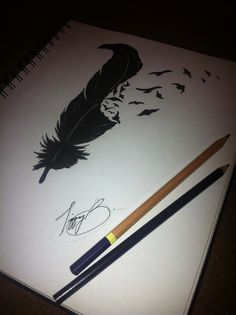 Art is my only escape...(Imitated graphite drawing of the feather/bird tattoo)