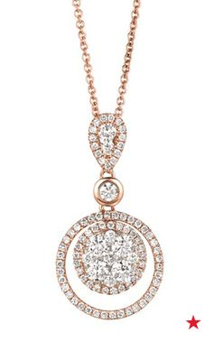Accentuate the neckline of a sweetheart wedding gown with a dazzling rose gold and diamond pendant from Le Vian. This double-circle necklace features brilliant and mesmerizing diamonds throughout.