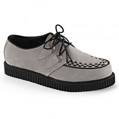 Rockabilly Mens Gray Suede Creeper Loafer - New at GothicPlus.com Price: $68.95  Gray suede rockabilly style loafer has woven vamp detail with a lace up front and a 1 inch high platform heel. Genuine suede upper with man made materials with padded insole and non-skid sole.  #gothic #fashion #steampunk