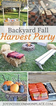 Host a Fall Harvest Party in Your Backyard! - - Are you looking for Fall party ideas? Discover backyard Harvest party ideas including a s'more bar, campfire, Pumpkin patch and Fall decoration ideas! Pumpkin Patch Party, Pumpkin Carving Party, Pumpkin Patch Birthday, Spa Party, Party Fun, Fall Festival Party, Fall Festival Activities, Fall Festivals, October Festival
