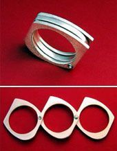 pretty ring that unfolds into makeshift brass knuckles| shtf weapons| emergency weapons | ring weapons| convertible ring|