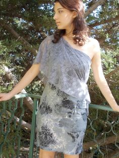 Couture lace dress silver grey cocktail dress by karmelidesigns, $75.00