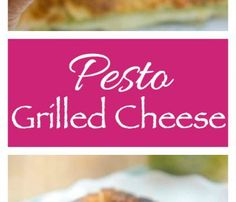 Pesto Grilled Cheese. Pesto and Mozzarella sandwiched between Parmesan crusted bread and then grilled to perfection.