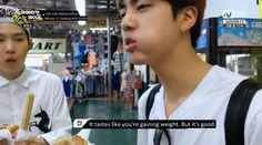 Welcome to America, Jin but Suga's face is like 'what is this'