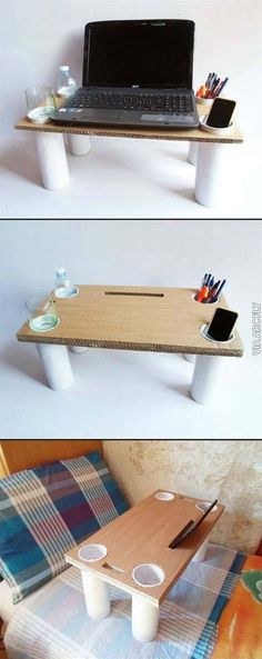 Multi-purpose Bed Table It's a tablet stand, a laptop tray, a cellphone holder, a pencil holder, a glass and bottle holder — an anyt(Diy Art Stand) Cardboard Furniture, Cardboard Crafts, Wood Crafts, Diy And Crafts, Diy Furniture, Upcycled Crafts, Craft Room Tables, Tablet Stand, Diy Laptop Stand