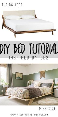 Mid-Century Inspired DIY Bed Love the look of Mid-Century and want to recreate it in your bedroom? Use this tutorial to make your own Mid-Century Inspired DIY Bed. Furniture Decor, Bedroom Furniture, Painted Furniture, Modern Furniture, Furniture Stores, Furniture Removal, Furniture Makeover, Broyhill Furniture, Furniture Cleaning