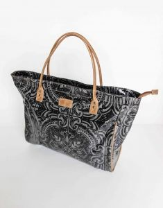 The bag has a genuine leather side pocket and handles, contrast stitching, etc. Buy it from - an online gift and decor boutique. Handbag Accessories, Fashion Accessories, Laminated Fabric, Online Gifts, Black Silver, Stitching, Contrast, Women's Fashion, Handbags