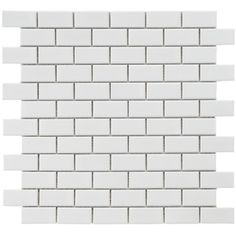 Merola Tile Metro Subway Glossy White 11-3/4 in. x 11-3/4 in. x 5 mm Porcelain Mosaic Tile (9.6 sq. ft. / case)