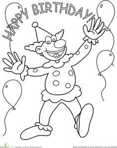 Birthday Clown Coloring Page