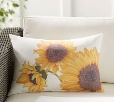 The joyful warmth of sunflowers in full bloom adds rustic, countryside style to your outdoor seating. From the first signs of spring through the last days of fall, this versatile lumbar pillow can be styled for any season. Outdoor Christmas Decorations, Light Decorations, Lumbar Pillow, Throw Pillows, Pillow Room, Accent Pillows, Countryside Style, Indoor Outdoor, Outdoor Decor