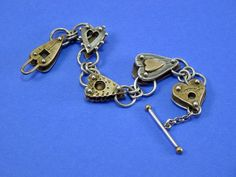 Vtg THOMAS MANN Heart Bracelet Sterling Silver Brass Steampunk Techno Style #ThomasMann