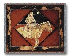 Late Night Express Cowboy Horse Rider Throw Blanket