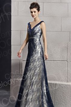 Charming Sheath-Column V-Neck Floor Length Tulle Mother of The Bride Dress with Beading and Ribbons COZF14041