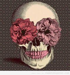 Calavera con flores vintage
