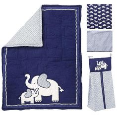 "Koala Baby First Love 4 Piece Crib Bedding Set - Elephant - Navy/Light Blue - Koala Baby - Babies ""R"" Us"