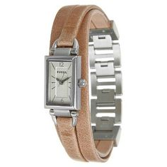 FOSSIL Women's DELANEY Rectangular Dial Three Hand Stainless Steel Watch With Leather Strap JR1370 - http://www.specialdaysgift.com/fossil-womens-delaney-rectangular-dial-three-hand-stainless-steel-watch-with-leather-strap-jr1370/