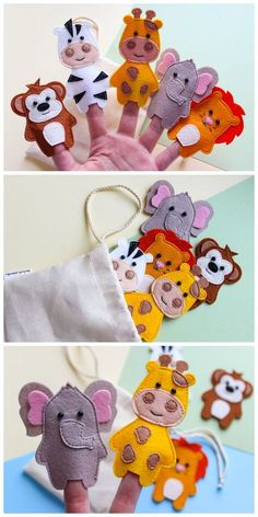 Safari animals finger puppets, African animals, Jungle animals, Zoo friends fing… – My CMS Felt Puppets, Puppets For Kids, Felt Finger Puppets, Hand Puppets, Montessori Toddler, Montessori Toys, Montessori Bedroom, Jungle Animals, Felt Animals