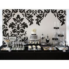 Chic Vintage Damask Bridal Shower Printable Collection - Black and White